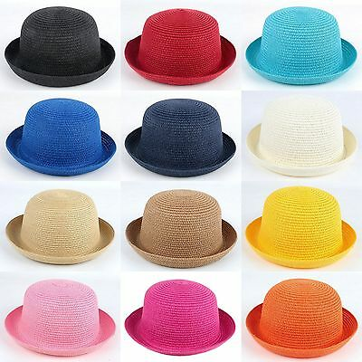 Adults Kids Women Girl Straw Bowler Derby Hat Cap Roll up Clothe Cap Sunhat New