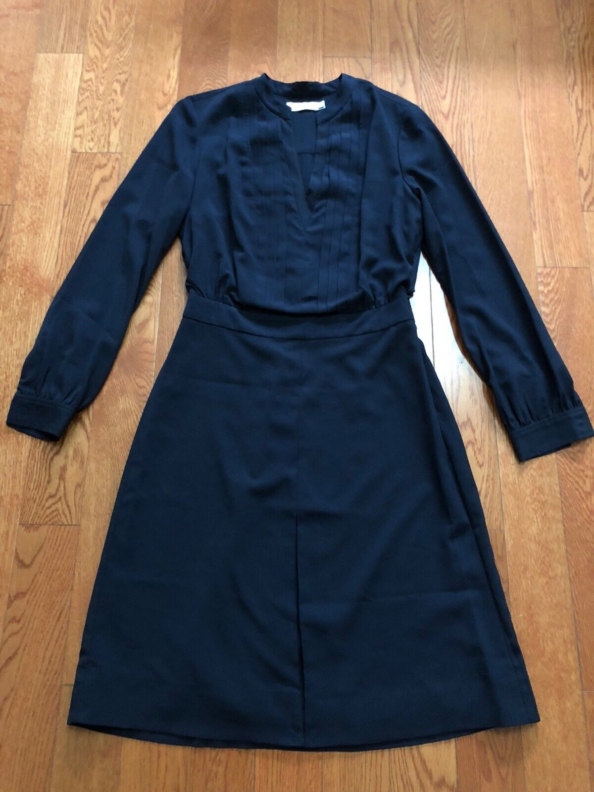 New Tory Burch Navy bluee Flowy Long Sleeve Pleated Blouse Dress