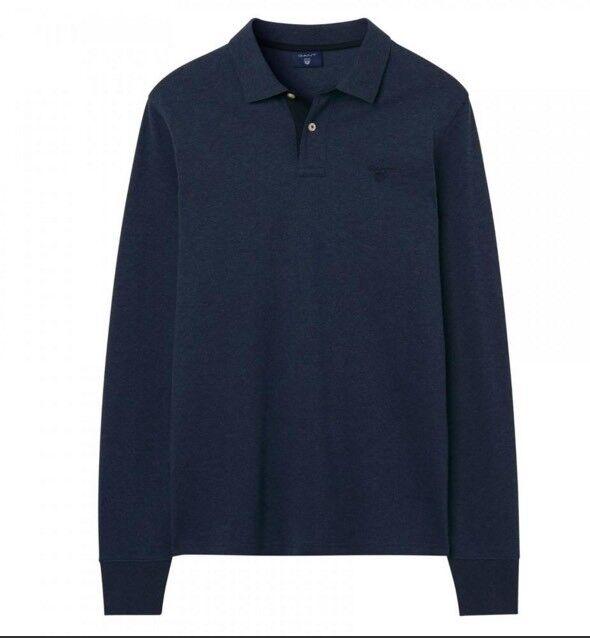 Gant Long Sleeve Polo Contrast Collar Pique Marine bluee Melange XL