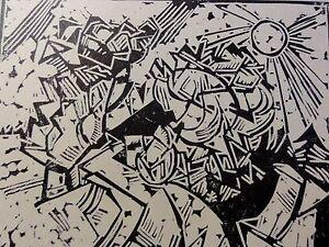 Georg-Tappert-1880-1957-Kunstdruck-vom-Linolschnitt-von-1917-Landschaft