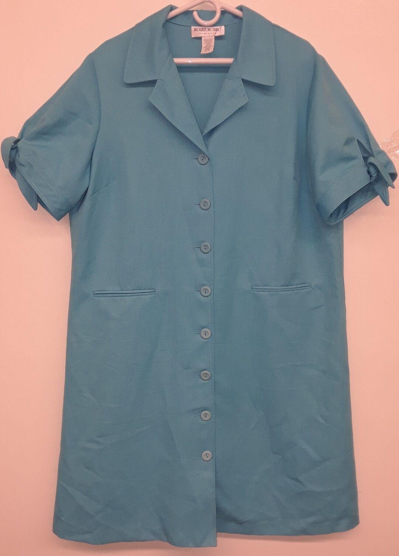 Brownstone Studio New York Women's 18W Turquoise Career Work Shirt Dress