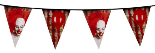 Garland of flags halloween decoration clown scary bloody killer ca 6m