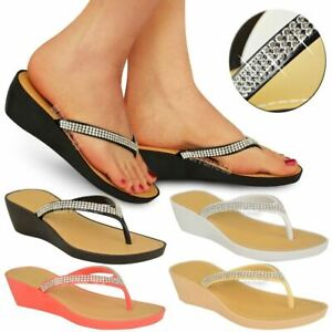 Womens-Wedge-Heel-Flip-Flops-Sandals-Diamante-Sparkly-Ladies-Toe-Post-Shoes-3-9