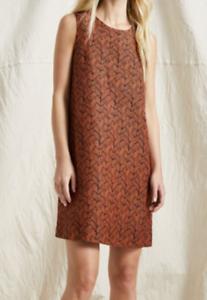 GORMAN-Rapunzel-Shift-Dress-Women-039-s-Size-8-Orange-amp-Black-Linen-Braid-Weave