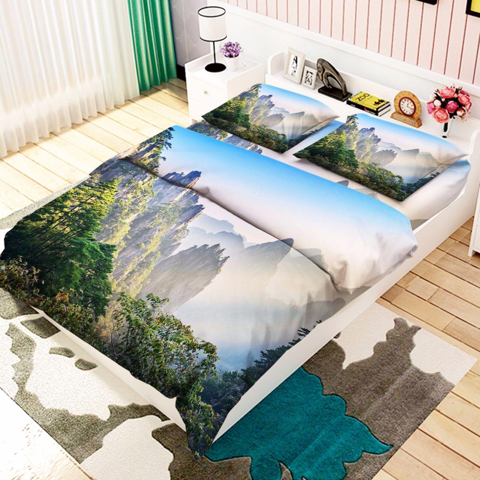 3D Mountains 018 Bed Pillowcases Quilt Duvet Cover Set Single Queen King Size AU