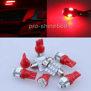 8X LED Light Interior Bulb Package for Ford F-250 F-350 F-450 2005-Present Red