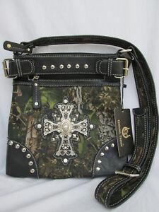 db5e453e2ea0 Details about Cowgirl Trendy Rhinestone Cross & Green Camo Crossbody Purse  Bag NWT