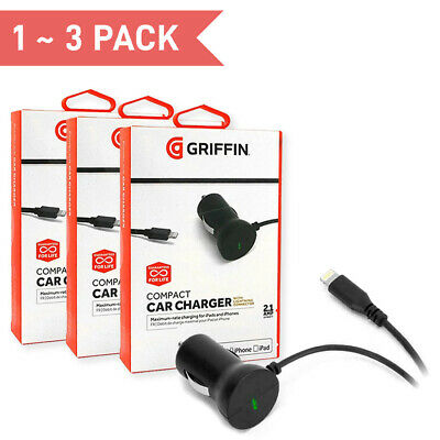 *1~3PACK* GRIFFIN Compact 10W Quick Car Charger with Apple Lightning Connector | eBay