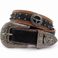 Premium Western Cowboys Mens Genuine Leather Longhorn Tooled Concho Buckle Belt