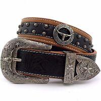 Premium Western Cowboys Mens Genuine Leather Longhorn Tooled Concho Buckle Belt