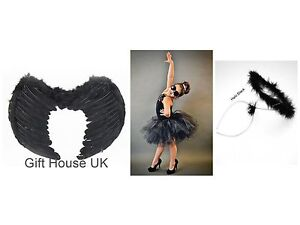 Kids-Feather-Wings-Angel-Fairy-Halo-Fancy-Dress-Costume-Outfit-Stage-Party-BLACK