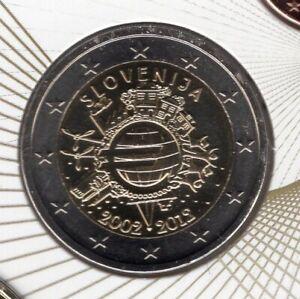 Slovénie 2012 2 Euro BU FDC 10 Ans de l'Euro provenant du coffret 15000 exemplai