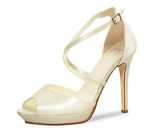 Brautschuhe Rainbow Club Else Grenadine Ivory Peeptoes Satin Wedding