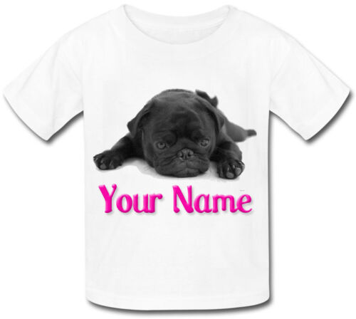 PRESENT BLACK CUTE PUG CHILDS PERSONALISED GREAT GIFT NAMED KIDS T-SHIRT