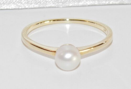 size L UK Hallmarked NEW 9ct Gold Pearl Ladies Single Stone Ring
