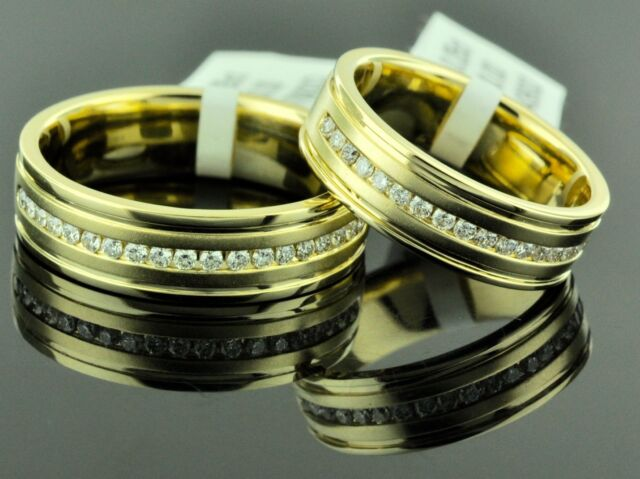 14k Solid Yellow Gold 0.50ct Bride & Groom set Natural Diamond Ring wedding band