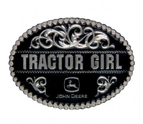 A290JDS Montana Silversmiths John Deere Tractor Girl in Black Attitude Buckle
