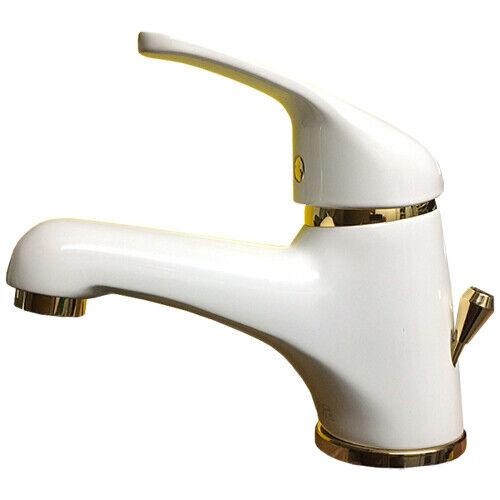 Waschtischarmatur Einhebelmischer weiss und Gold mit Zugstangenablaufgarnitur   Schönes Aussehen    Tadellos    Deutsche Outlets