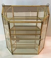 """Brass & Glass Mirrored Curio Cabinet 10 3/4"""" 2 Shelves Tabletop Mantle or Wall"""