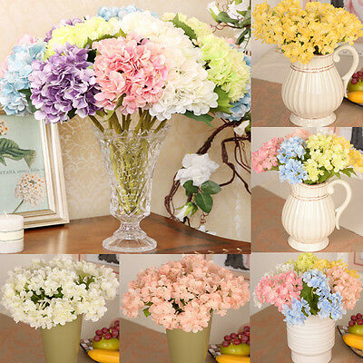 Artificial Hydrangea Silk Flowers Leaf Stem Wedding Bridal Party Home Decor New