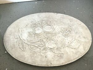 Hammered-Aluminum-Everlast-Hand-Forged-12-034-x-9-034-Oval-Platter-Large-Old-O203
