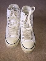 Converse Chuck Taylor White Leather Hi-tops Mens Trainers UK Size 7 *S2