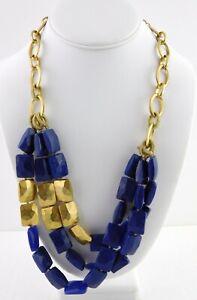 Stella-amp-Dot-Bahari-Statement-Necklace-Cobalt-Blue-and-Gold-Adjustable-Chain