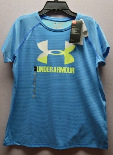 Under Armour Girls Youth Big Logo T Shirt 1299323 Blue Striped S L XL Loose Fit