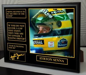Ayrton-Senna-F1-World-Champion-A4-Framed-Canvas-Signed-Print-034-Great-Gift-034