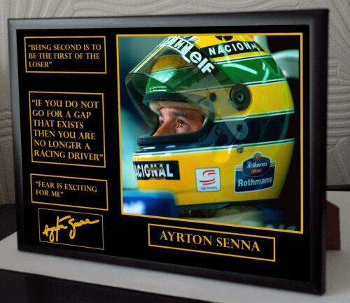 Ayrton Senna F1 World Champion A4 Framed Canvas Signed Print Great Gift