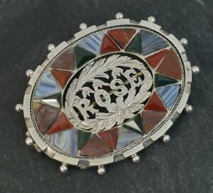 Scottish-Victorian-Silver-Banded-Agates-amp-Bloodstone-ROSE-Brooch