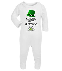 Patricks Day Baby Babygrow Romper Baby Gifts Ireland Babywear Irish Babywear Personalised Name In Clover First St