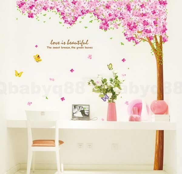 Huge Sakura Flower Blossom Tree Removable Wall Decals Stickers Mural Home decor