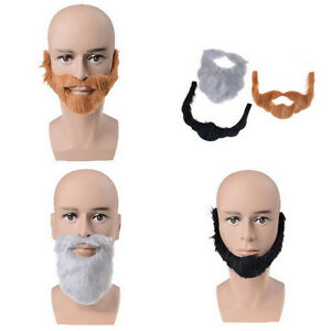 PARTY BEARD Moustache Costume Fancy Dress Halloween Fake Mustache Funny Beard HI