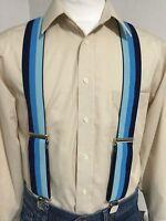 "New, Men's, Navy Combo Stripe, XL, 2"", Adj. Suspenders / Braces, Made in the USA"