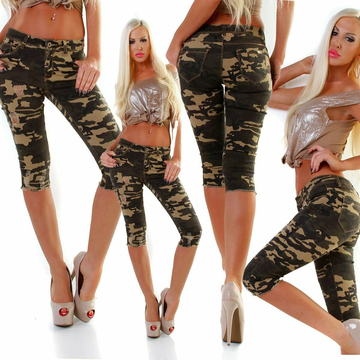 5157 Knackige Damen Jeans Bermudas Capri Tarnhose Army Camouflage Slimfit