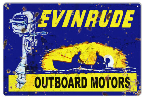 """Evinrude Outboard Motor Aged looking FishingMetal Sign 12/"""" x 18/"""""""