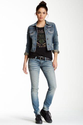 NEW Affliction RAQUEL RUGGED FLEUR FEDERATION 111SK022 Skinny Jeans Blue