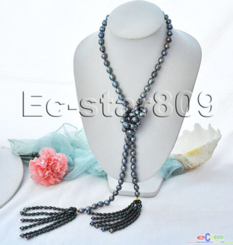 """P5378 50/"""" 13 mm NOIR Rice Freshwater Cultured Pearl petits glands Collier"""