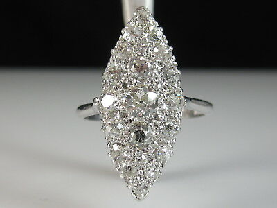 Art Deco Platinum Diamond Ring Art Deco Old European Antique Navette Marquise