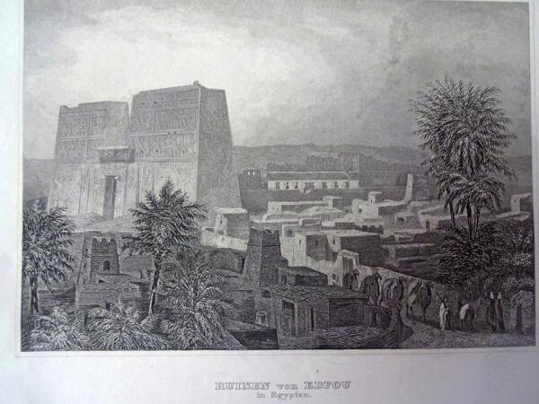Gerade Ruinen Von Edfou In Egypten Stahlstich Ca. 1840 Edfu Ägypten Reinigen Der MundhöHle.