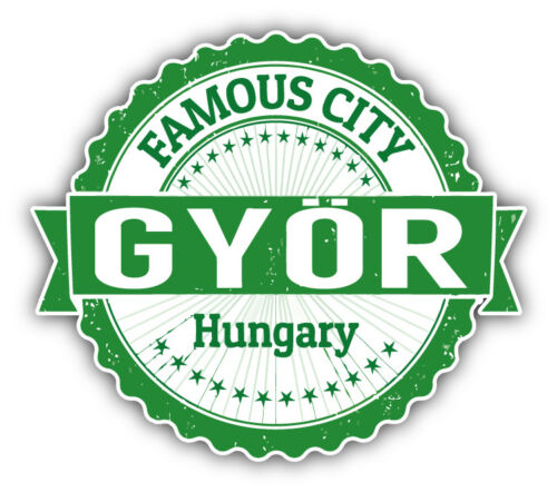 "Gyor City Hungary Grunge Travel Stamp Car Bumper Sticker Decal 5/"" x 4/"""