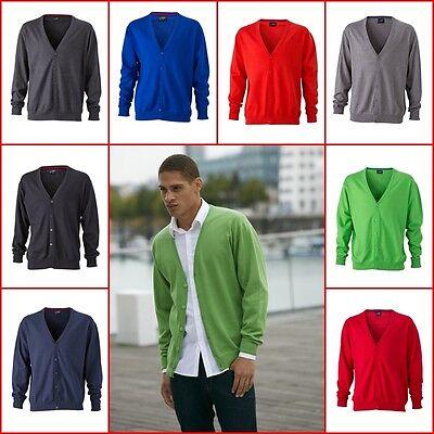 JAMES & NICHOLSON Basic Cardigan V-Neck Vest Pullover Cotton