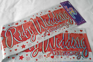 3 x giant ruby wedding anniversary banners wall banners party
