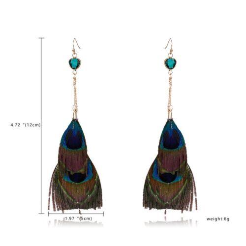 Fashion Women Boho Feather Long Tassel Earrings Hook Drop Dangle Jewelry Gift