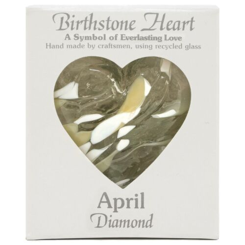 Milford Collection April Birthstone Glass Diamond Heart Hand Made Hanging Gift