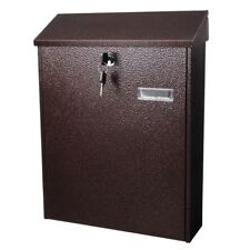 "16"" Large Steel Locking Mailbox Wall Mount Newspaper Letterbox w/ Door & 2 Keys"