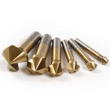 6 PC 3 Flute HSS Titanium Chamfer Chamfering End Mill Cutter Bit Countersink Set