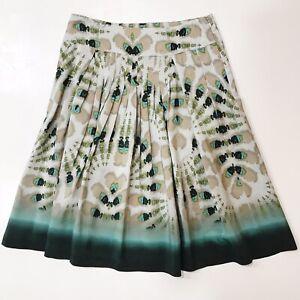 Etcetera-Womens-Pleated-Skirt-silk-Size-0-225-Teal-Beige-Tan-Watercolors-NWOT
