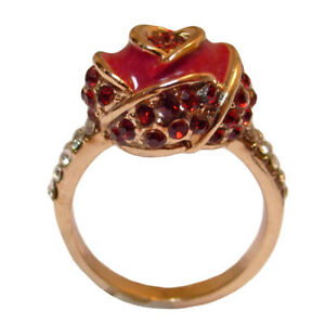 bague plaqu or jaune cristal swarovski l ments fleur en forme de rose rouge ebay. Black Bedroom Furniture Sets. Home Design Ideas